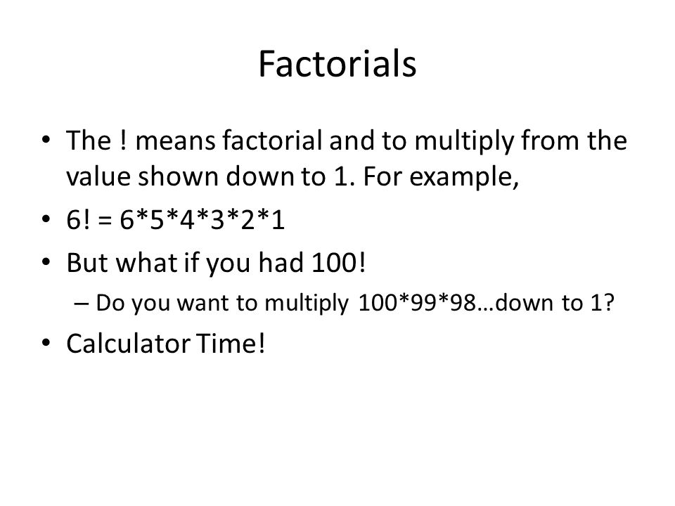how to find unknown value in factorials