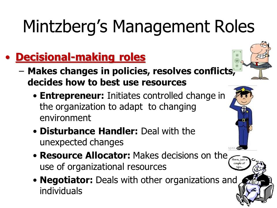mintzbergs management roles Henry mintzberg (1991), a well-known management thinker, recorded what some managers did during their working days and came to the conclusion that there was a gap between theory and practice.