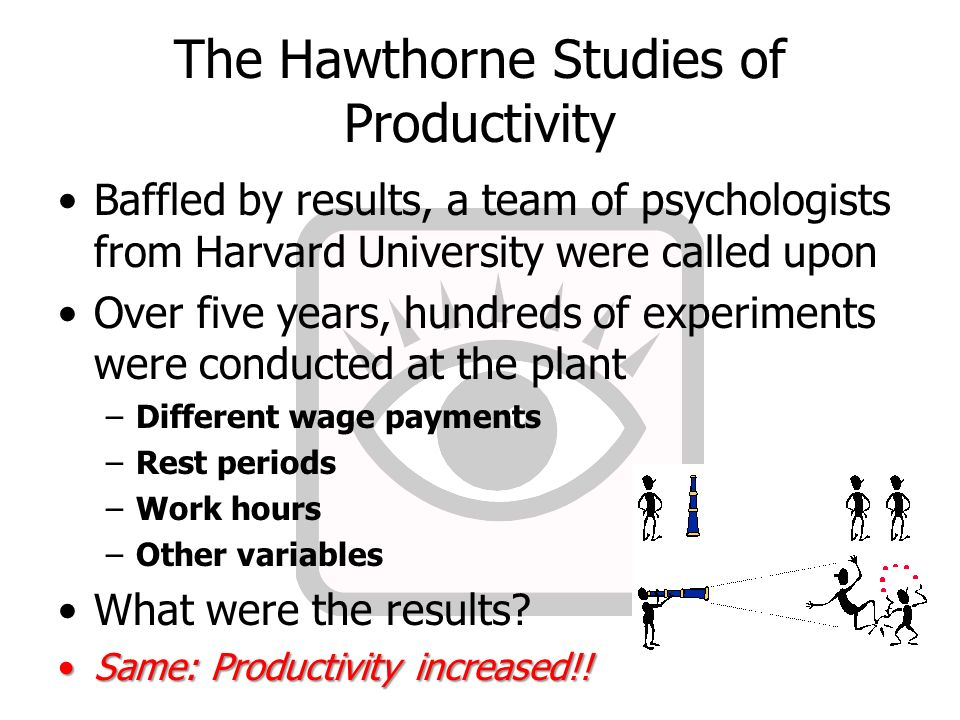 a look at the hawthorne experiments The hawthorne effect is a well-documented phenomenon that affects many research experiments in social sciences.
