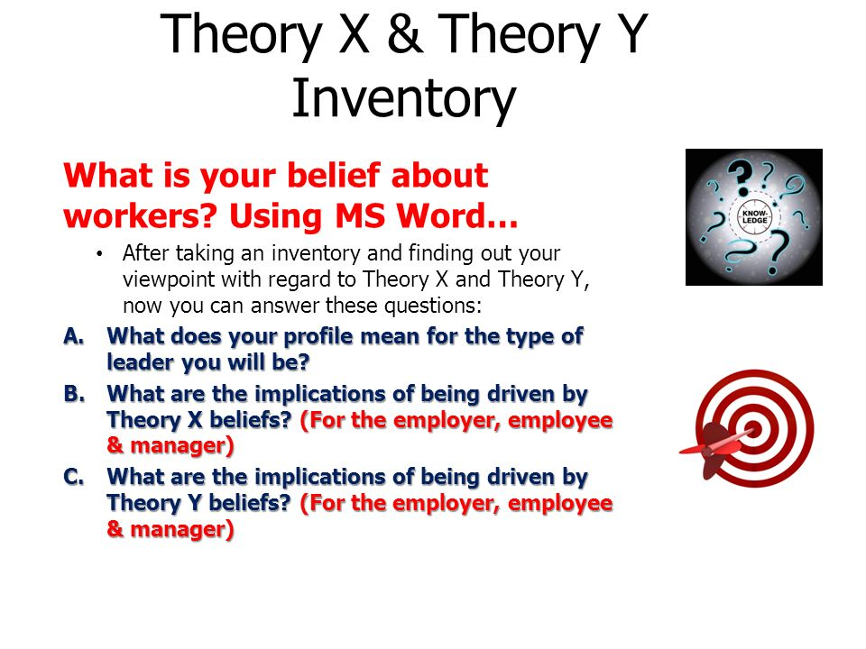 inventory theory The leadership practices inventory: theory and evidence behind the five practices of exemplary leaders there is considerable empirical support for the five practices.