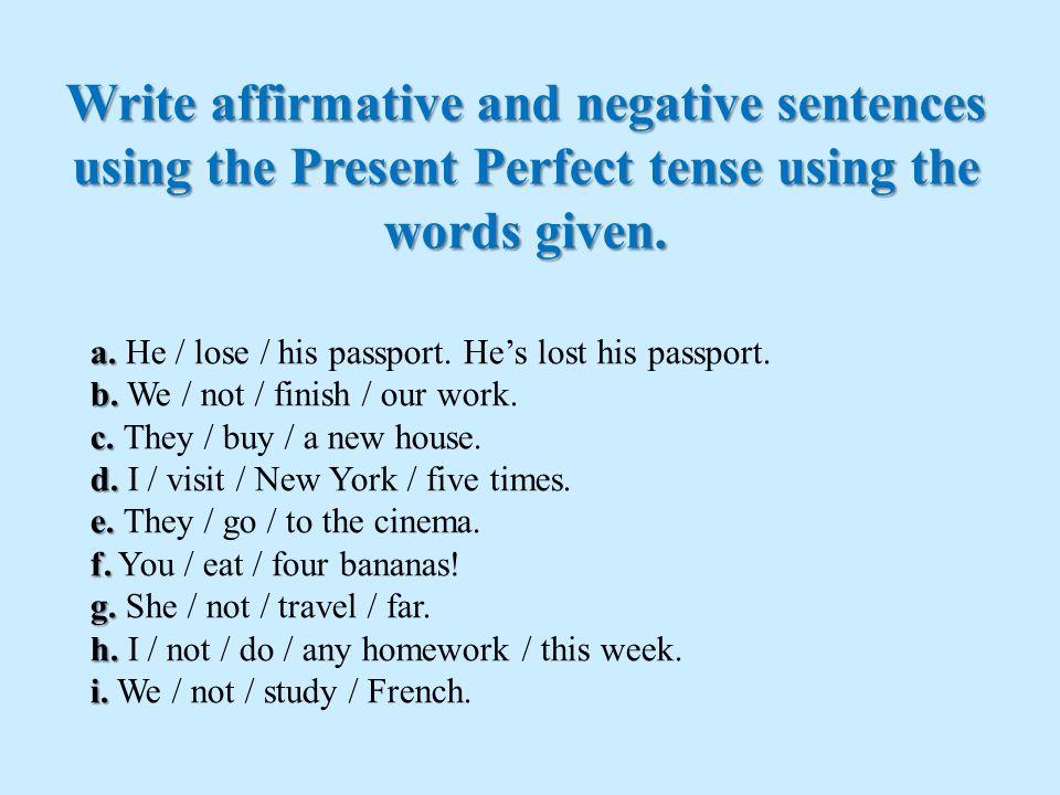present perfect tense examples sentences pdf