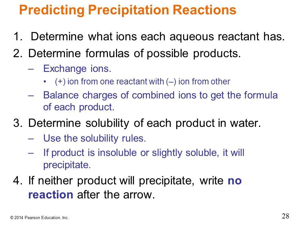 Predicting Precipitation Reactions