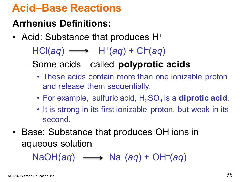 Acid–Base Reactions Arrhenius Definitions: