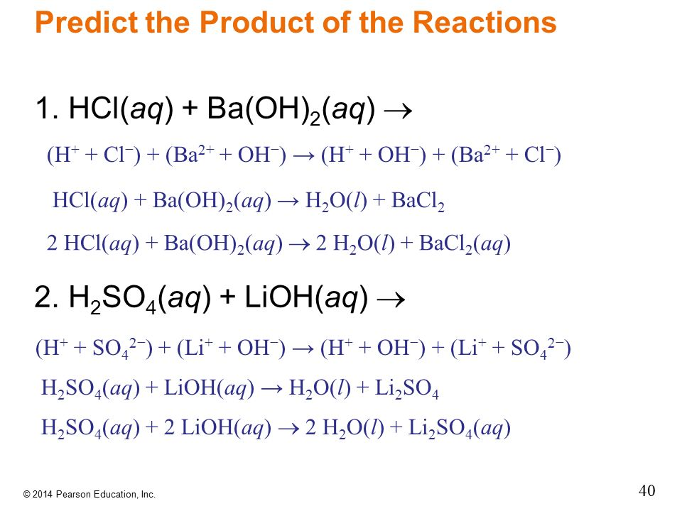 Predict the Product of the Reactions