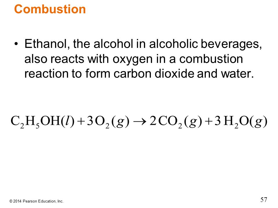 Combustion Ethanol, the alcohol in alcoholic beverages, also reacts with oxygen in a combustion reaction to form carbon dioxide and water.