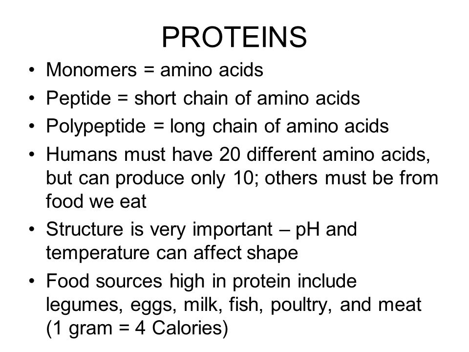 PROTEINS Monomers = amino acids Peptide = short chain of amino acids