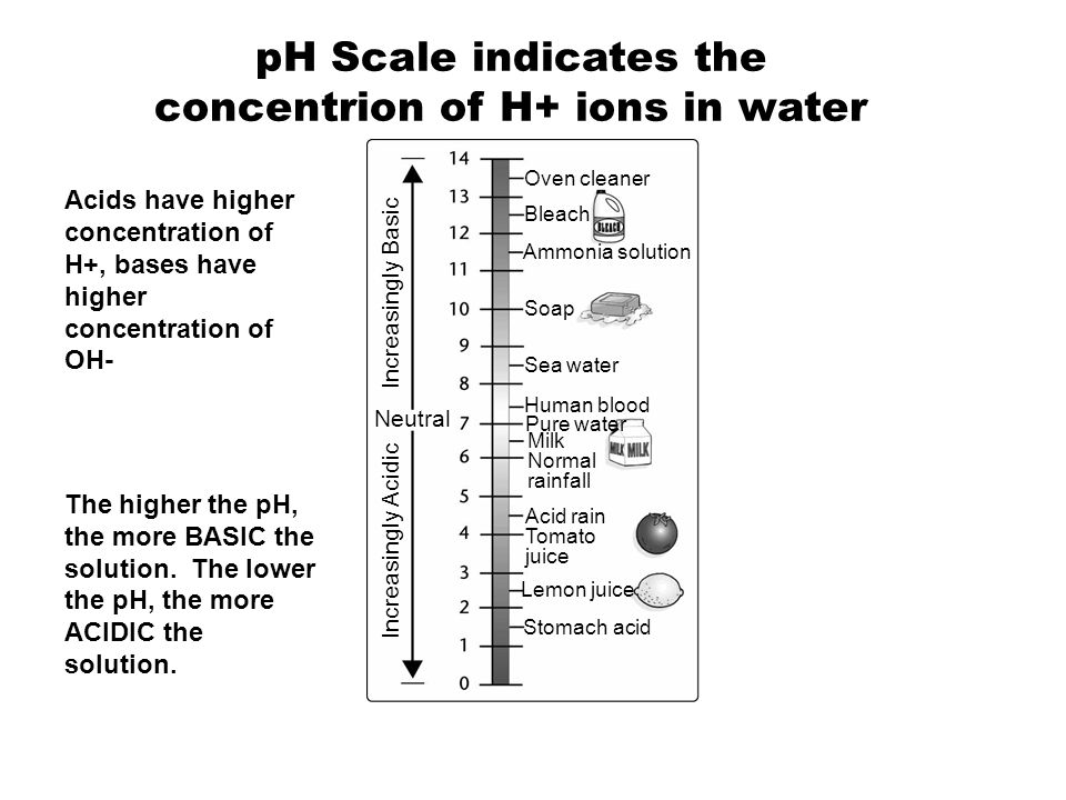 pH Scale indicates the concentrion of H+ ions in water
