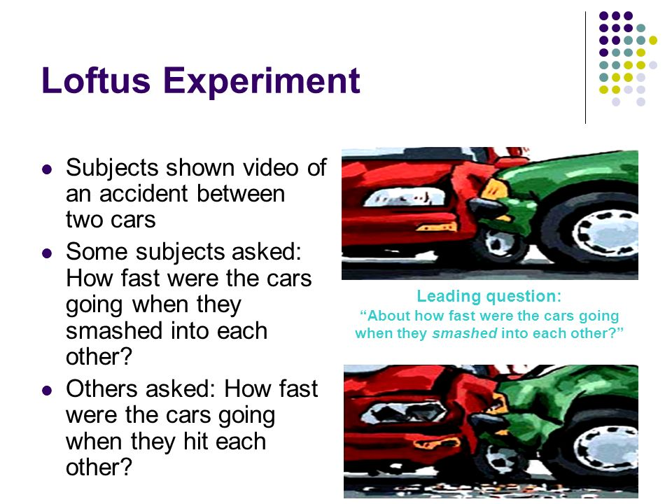 loftus experiment Loftus and palmer 1 loftus and palmer: reconstruction of automobile destruction 2 why was the experiment conducted.