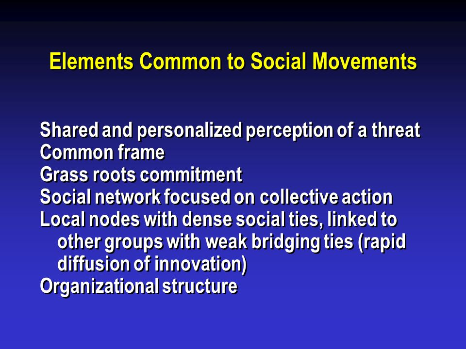 Elements Common to Social Movements