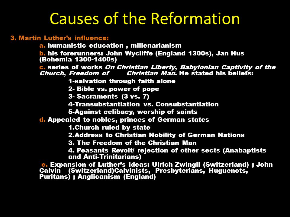 causes of the reformation essay What were the causes of the american civil war the causes of world war i the causes of the american great  the cause and effect essay can end in a number of.