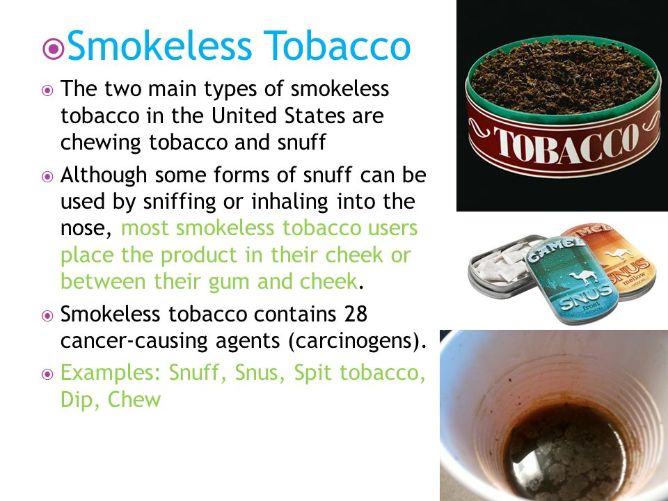 the main features and types of smokeless tobacco