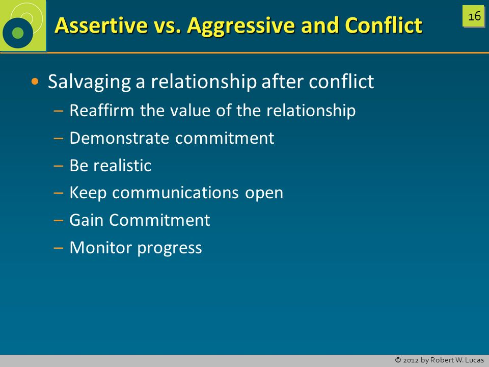 Assertive vs. Aggressive and Conflict