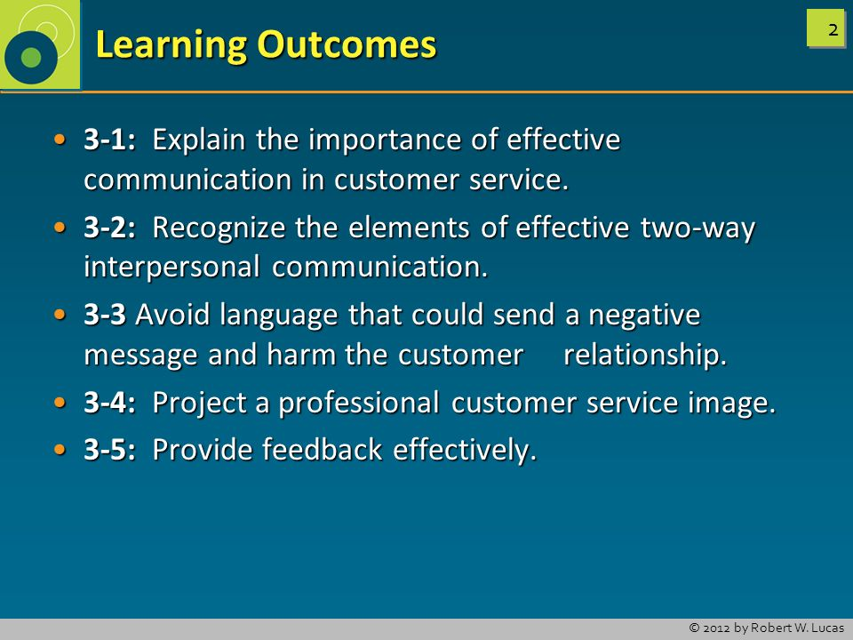 Learning Outcomes 3-1: Explain the importance of effective communication in customer service.