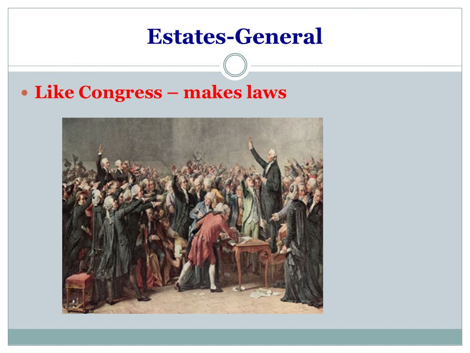 Estates-General Like Congress – makes laws