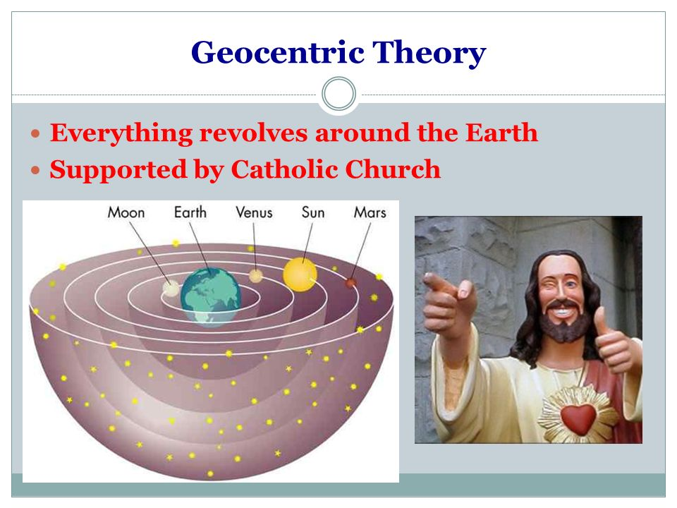 Geocentric Theory Everything revolves around the Earth