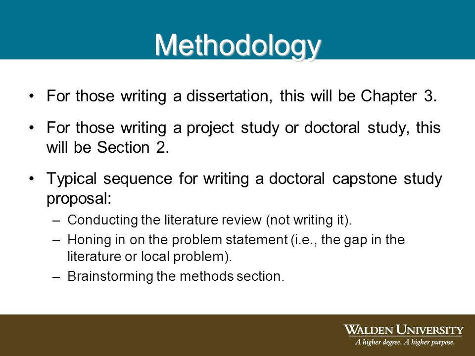 writing a methodology for dissertation The purpose for writing dissertation proposal is to get it approved by your  supervisor to be able to start the actual research the proposal needs to be able  to.