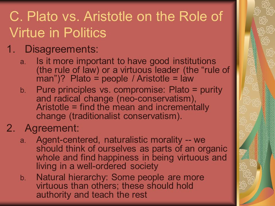 plato vs. aristotle essay Draw parallels between plato and augustine and between aristotle and aquinas,  then point out several of the differences between the first  view full essay.