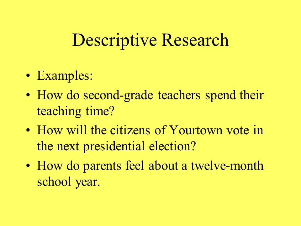 examples of descriptive research questions Writing a research paper writing a general research paper descriptive essay samples one of the most popular forms of essays, it is important to grasp how to write one look at our samples of descriptive essays to understand how to write them on your own.