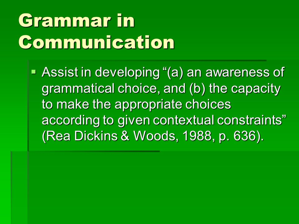 Grammar in Communication