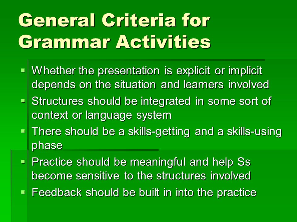 General Criteria for Grammar Activities
