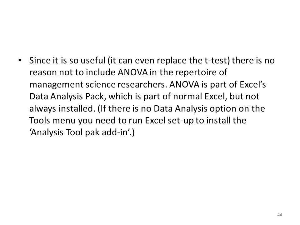 how to set up anova in excel