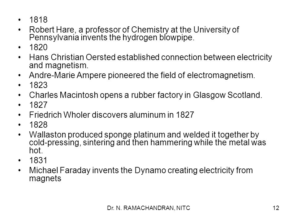 Andre-Marie Ampere pioneered the field of electromagnetism. 1823