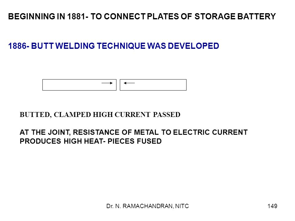 BEGINNING IN 1881- TO CONNECT PLATES OF STORAGE BATTERY