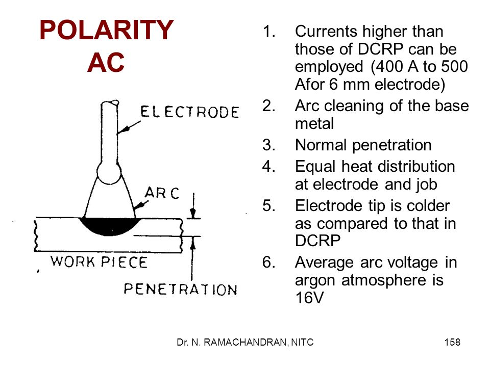 POLARITY AC Currents higher than those of DCRP can be employed (400 A to 500 Afor 6 mm electrode) Arc cleaning of the base metal.