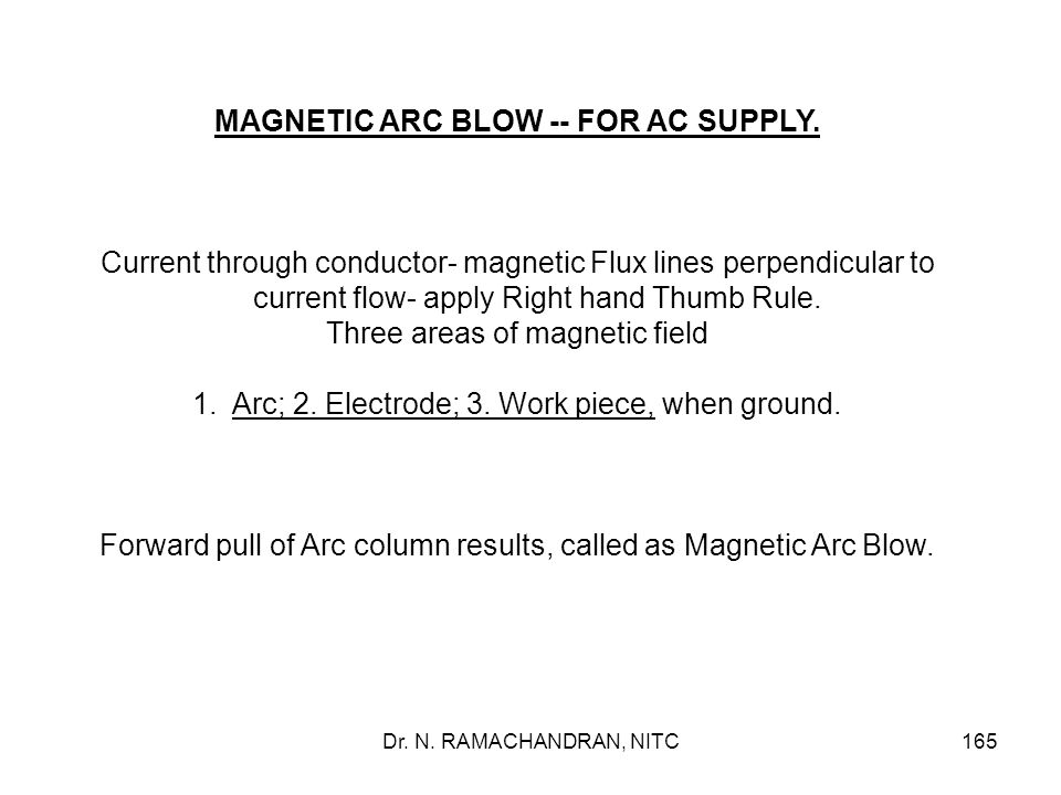 MAGNETIC ARC BLOW -- FOR AC SUPPLY.