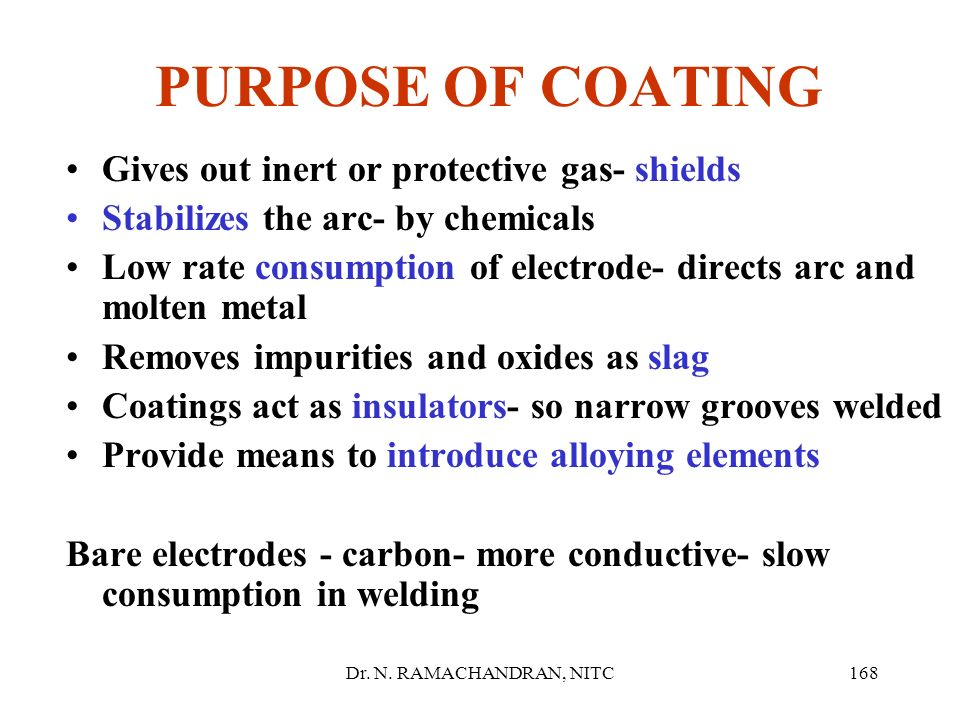 PURPOSE OF COATING Gives out inert or protective gas- shields
