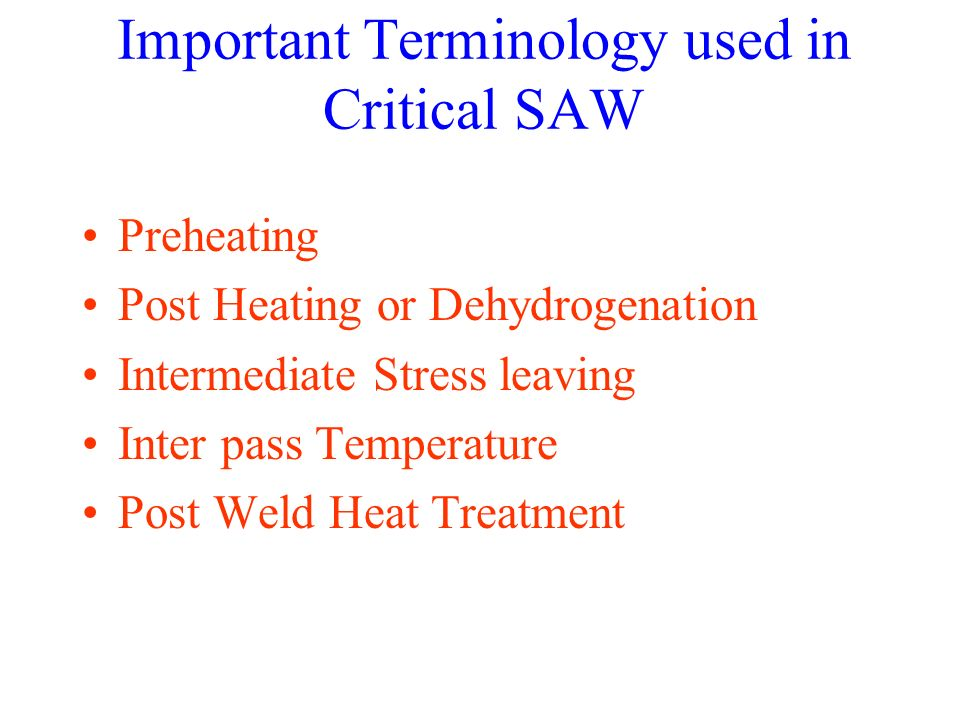Important Terminology used in Critical SAW