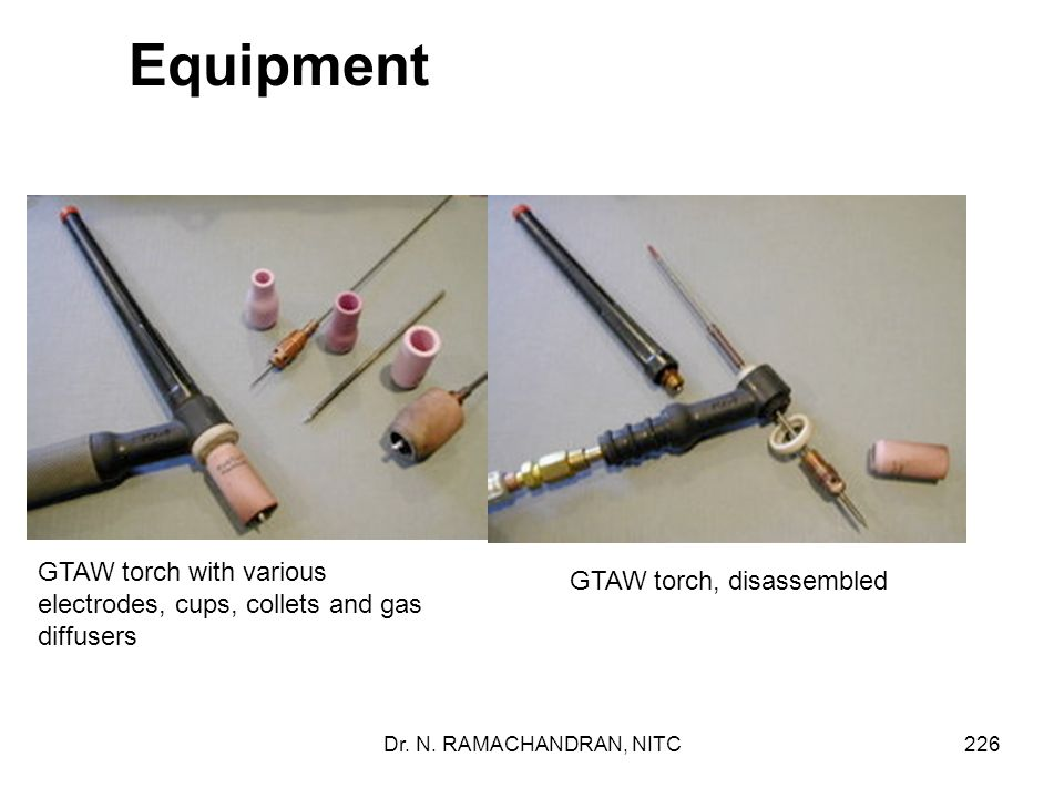 Equipment GTAW torch with various electrodes, cups, collets and gas diffusers. GTAW torch, disassembled.