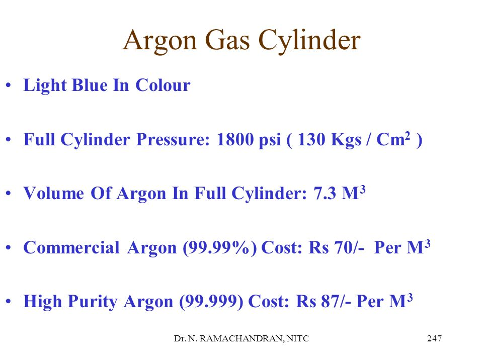 Argon Gas Cylinder Light Blue In Colour