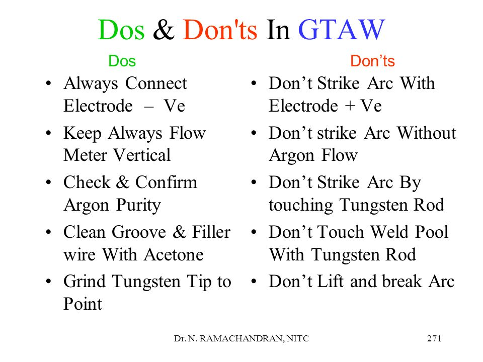 Dos & Don ts In GTAW Always Connect Electrode – Ve