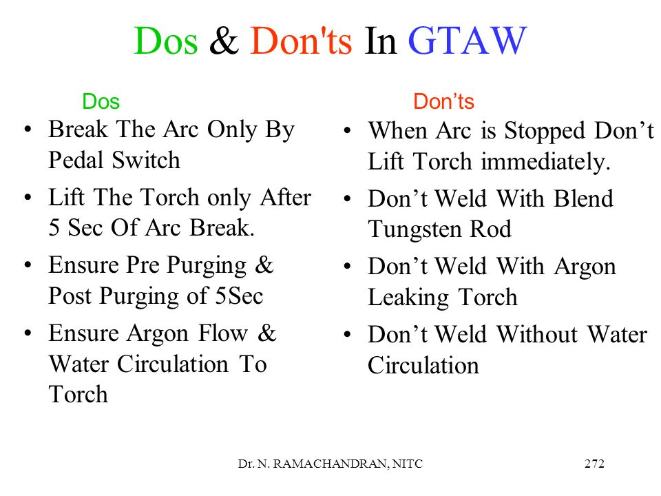 Dos & Don ts In GTAW Break The Arc Only By Pedal Switch