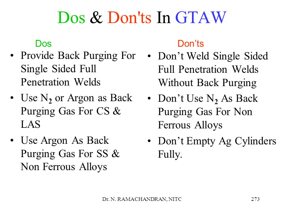 Dos & Don ts In GTAW Dos Don'ts. Provide Back Purging For Single Sided Full Penetration Welds.