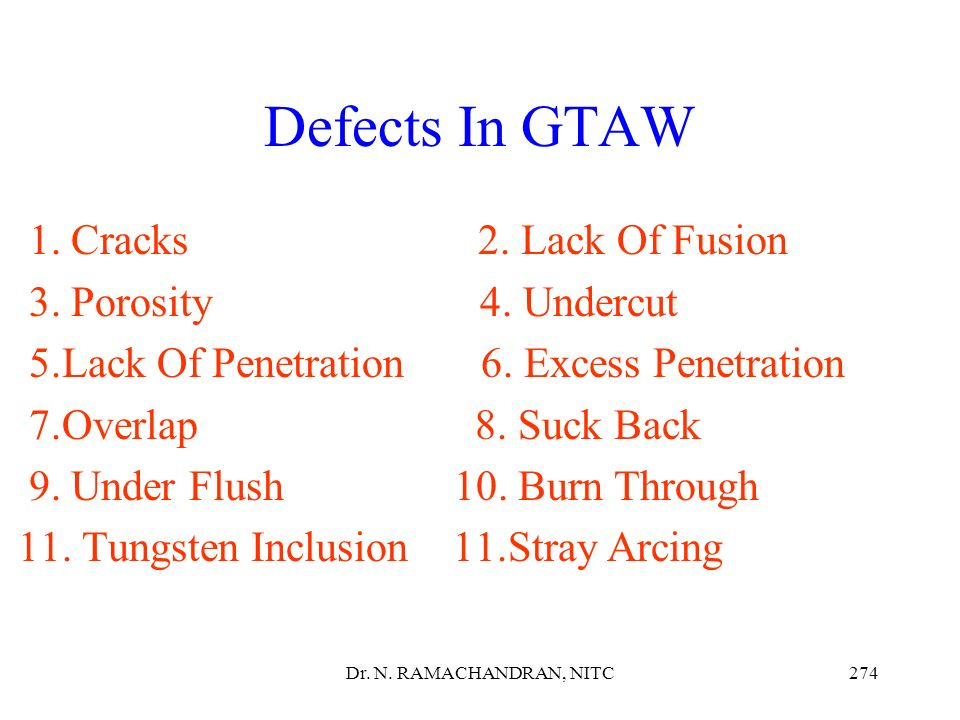 Defects In GTAW 1. Cracks 2. Lack Of Fusion 3. Porosity 4. Undercut