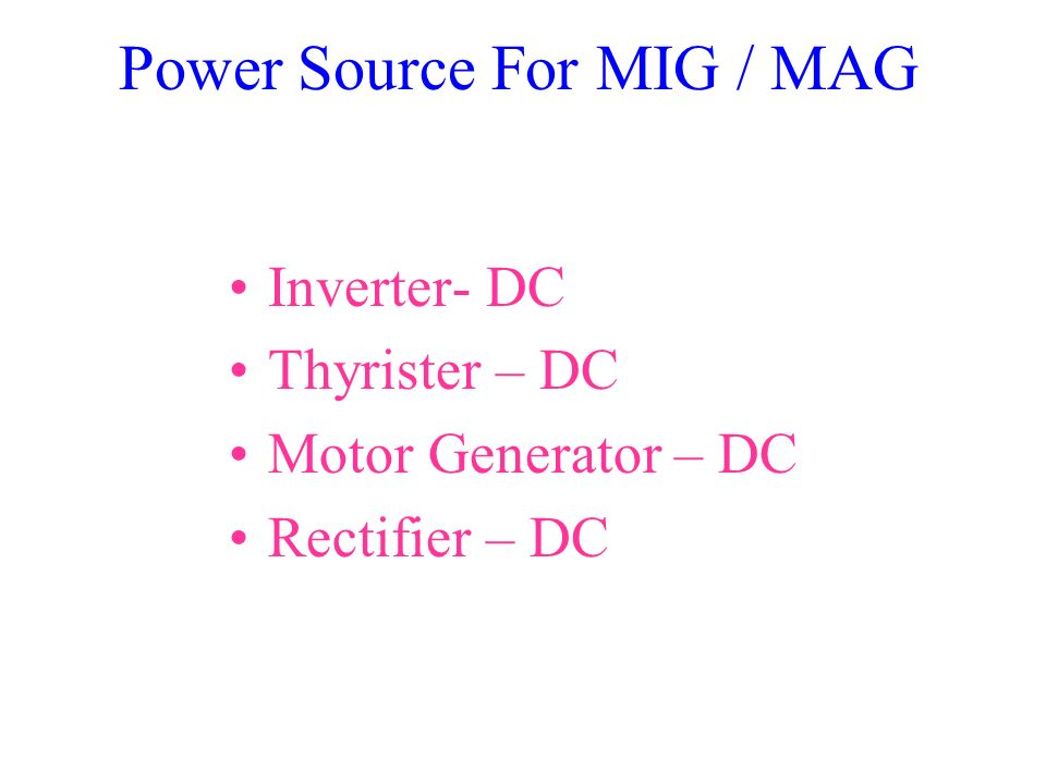 Power Source For MIG / MAG