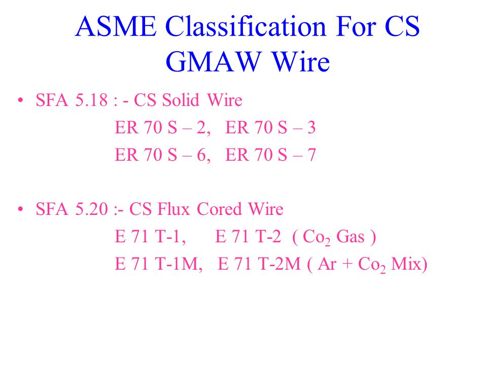 ASME Classification For CS GMAW Wire