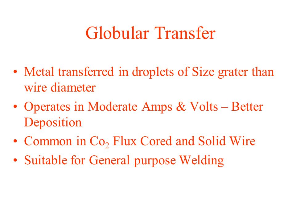 Globular Transfer Metal transferred in droplets of Size grater than wire diameter. Operates in Moderate Amps & Volts – Better Deposition.