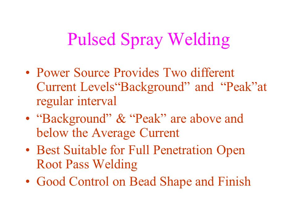 Pulsed Spray Welding Power Source Provides Two different Current Levels Background and Peak at regular interval.