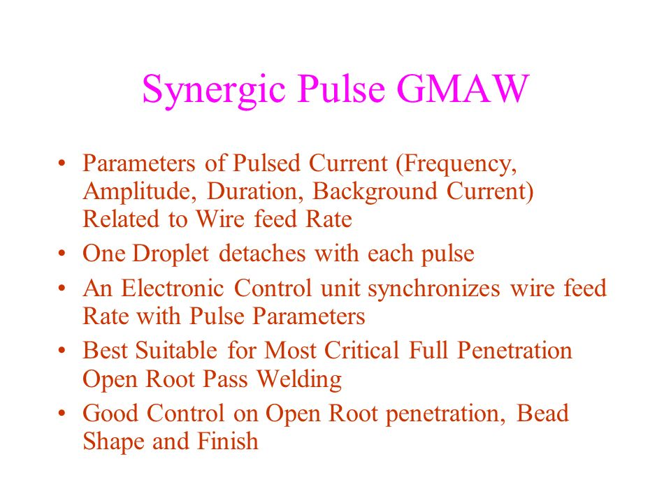 Synergic Pulse GMAW Parameters of Pulsed Current (Frequency, Amplitude, Duration, Background Current) Related to Wire feed Rate.