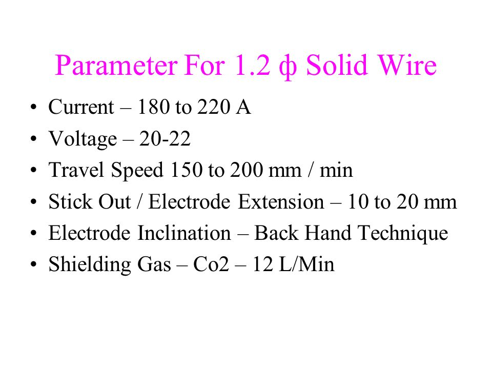 Parameter For 1.2 ф Solid Wire