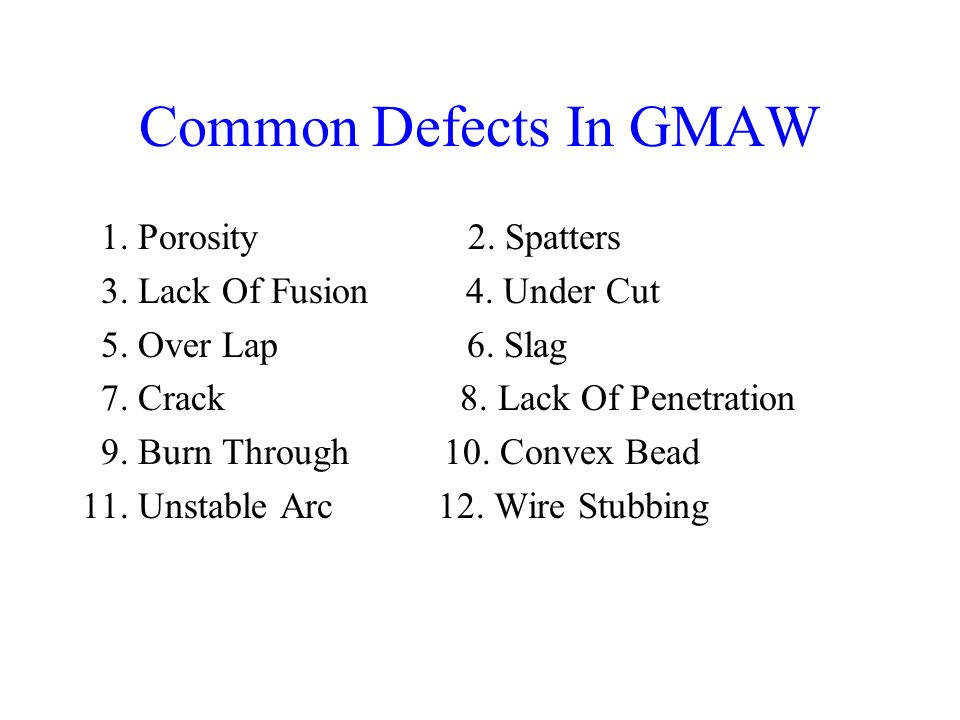 Common Defects In GMAW 1. Porosity 2. Spatters