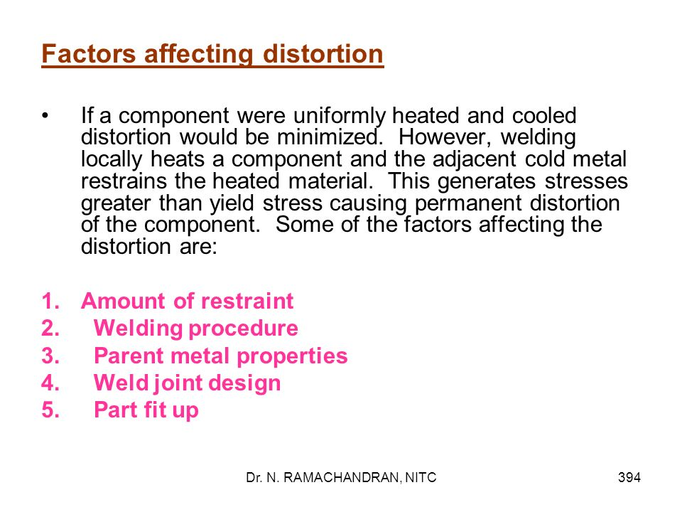 Factors affecting distortion