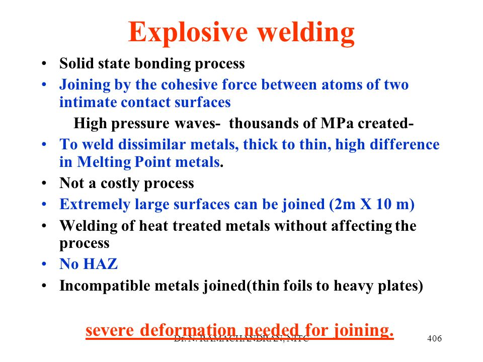 Explosive welding Solid state bonding process