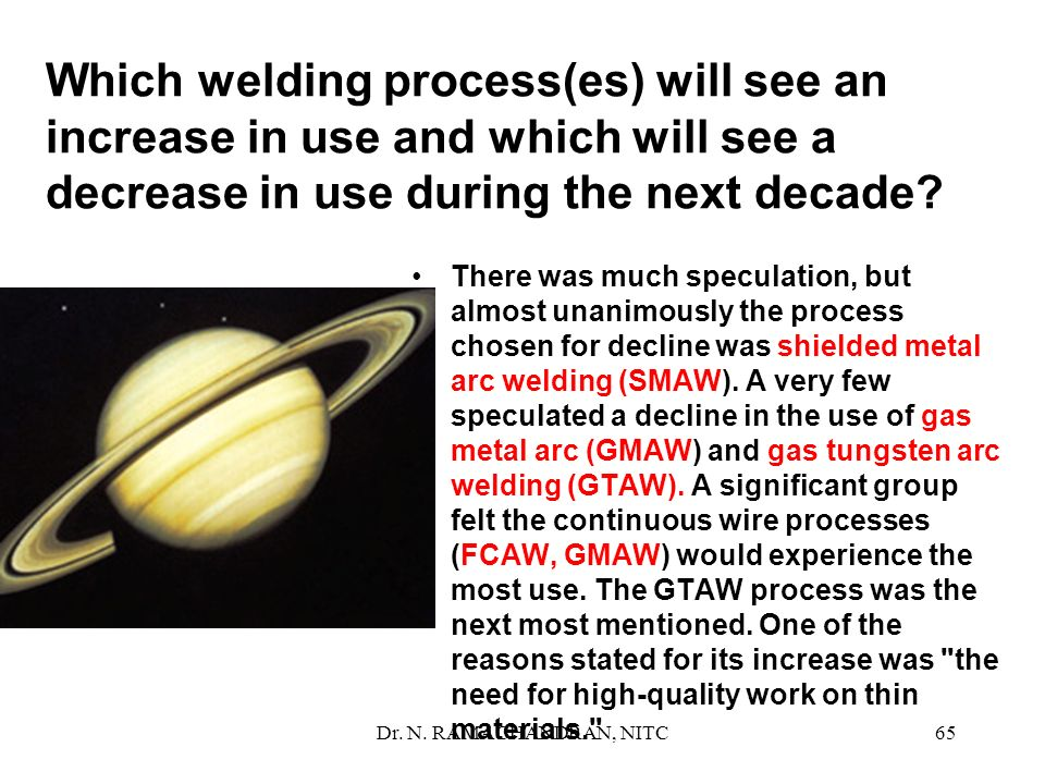 Which welding process(es) will see an increase in use and which will see a decrease in use during the next decade
