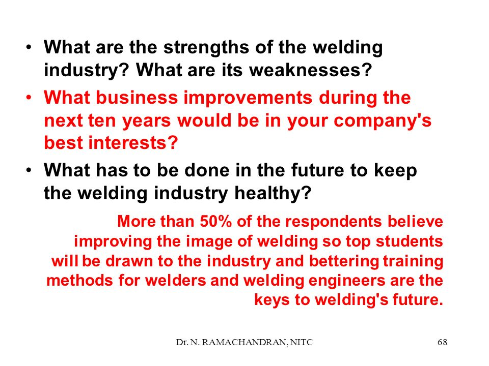 What are the strengths of the welding industry What are its weaknesses