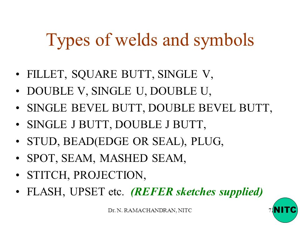 Types of welds and symbols