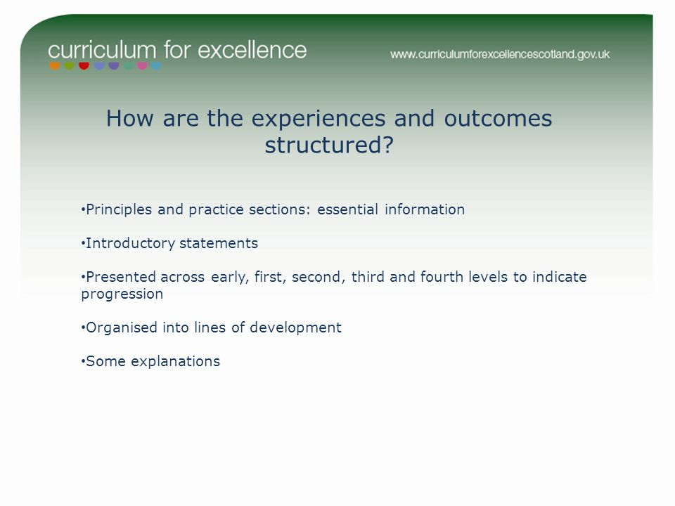 How are the experiences and outcomes structured